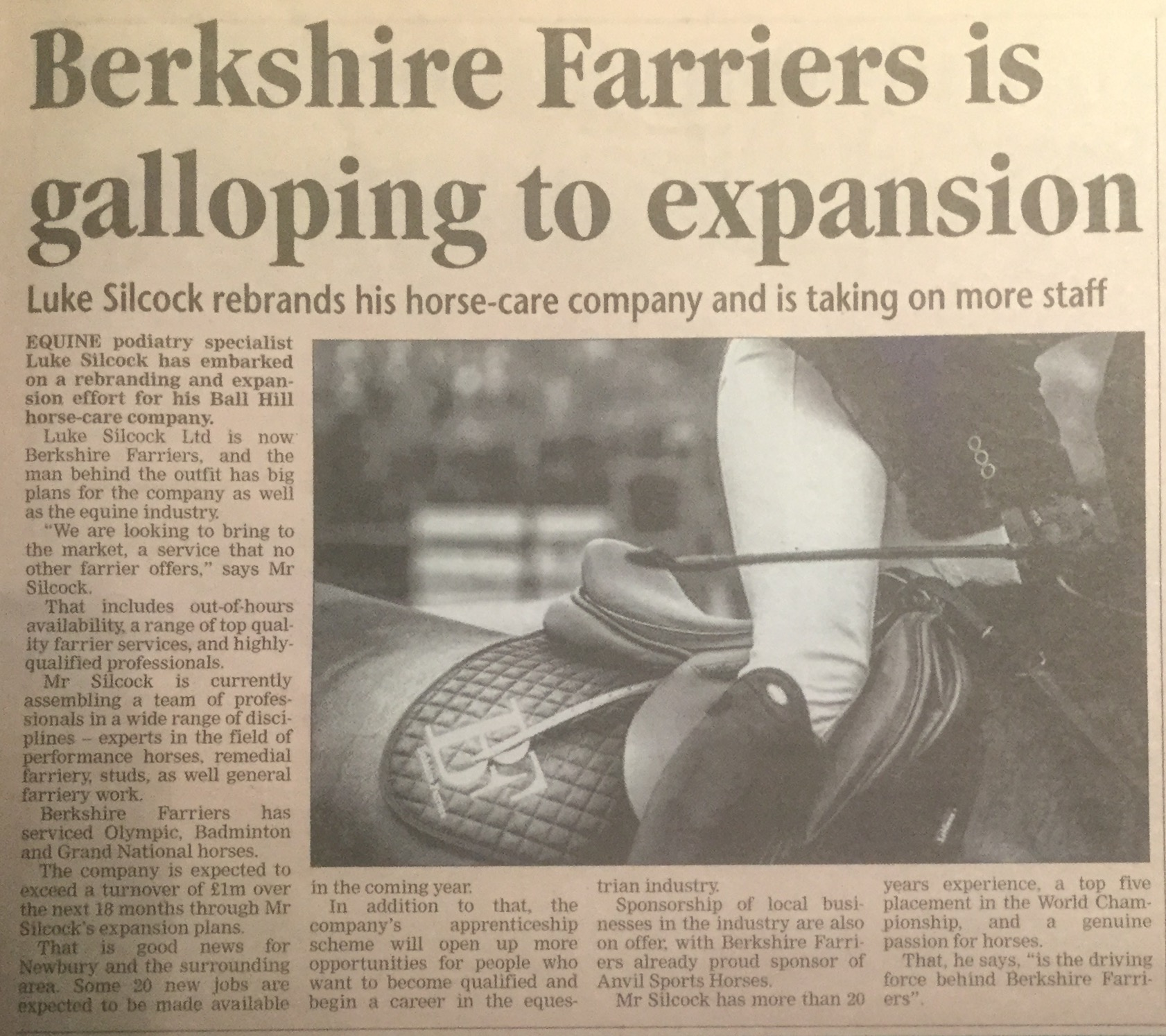 Berkshire Farriers is galloping to expansion